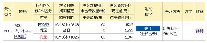 プリントネットジャパン初値利益